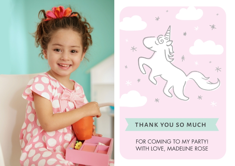 Kids Thank You Cards 5x7 Cards, Premium Cardstock 120lb with Scalloped Corners, Card & Stationery -Thank You Magical Unicorn