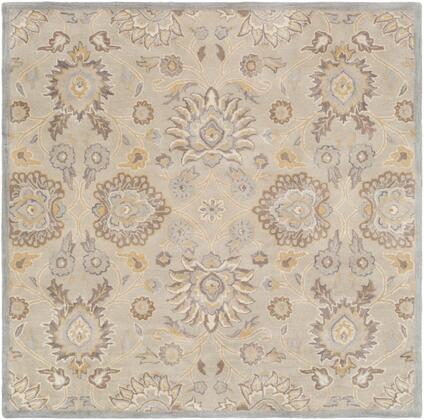 Caesar CAE-1192 4' Square Traditional Rug in Light Grey  Khaki  Camel  Cream  Medium