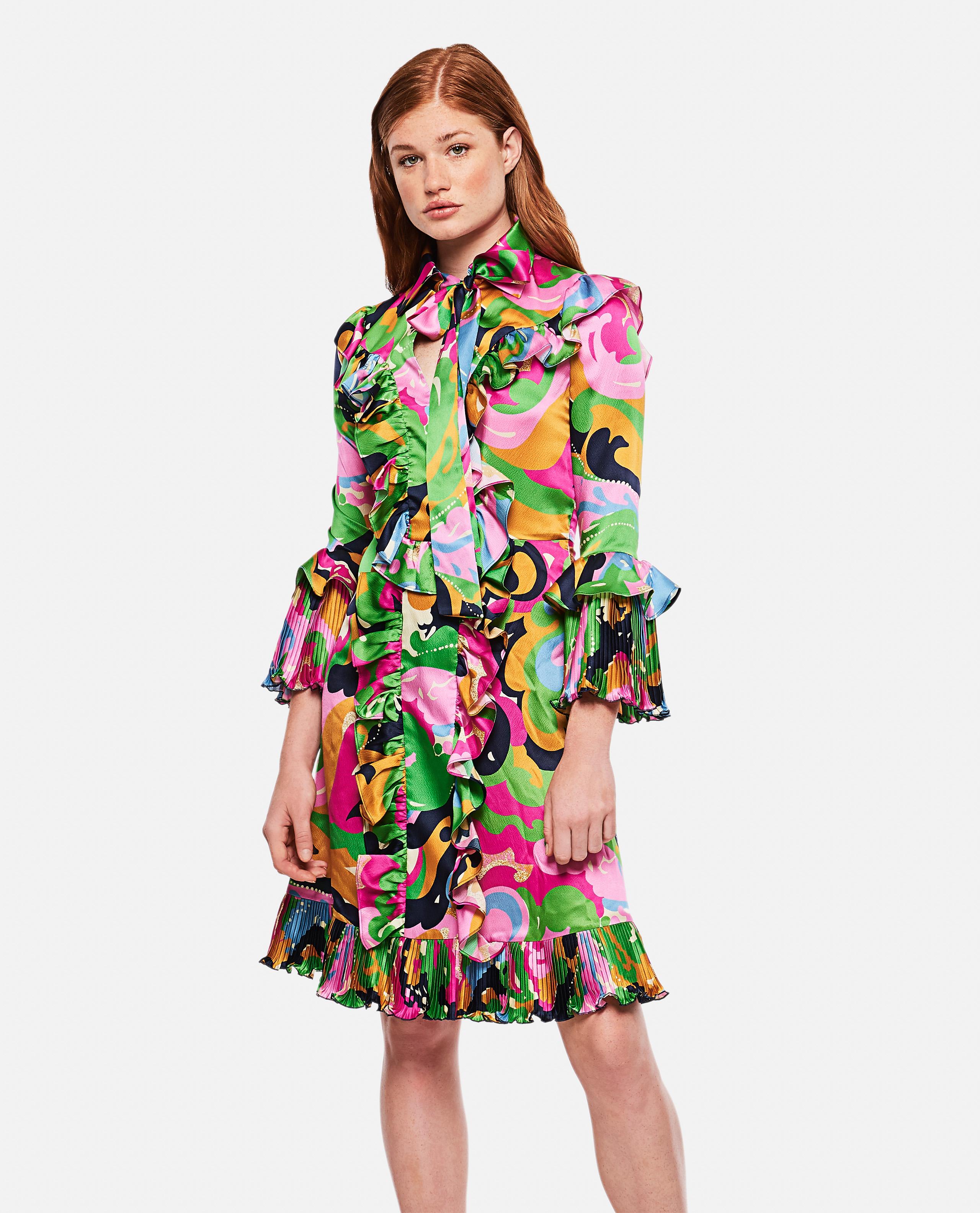 Fancy Ruffled Silk Mini Dress