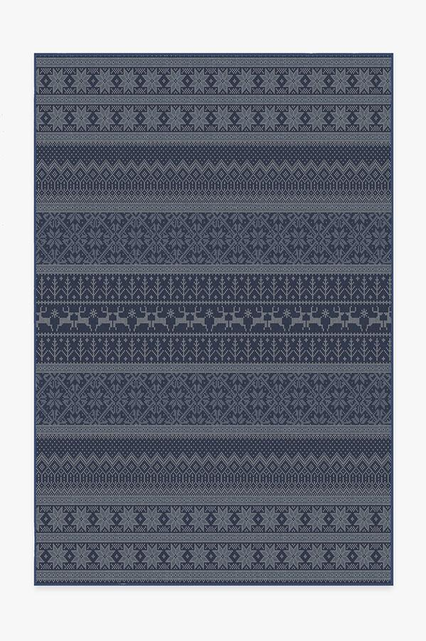 Washable Rug Cover & Pad   Fair Isle Blue Rug   Stain-Resistant   Ruggable   6'x9'