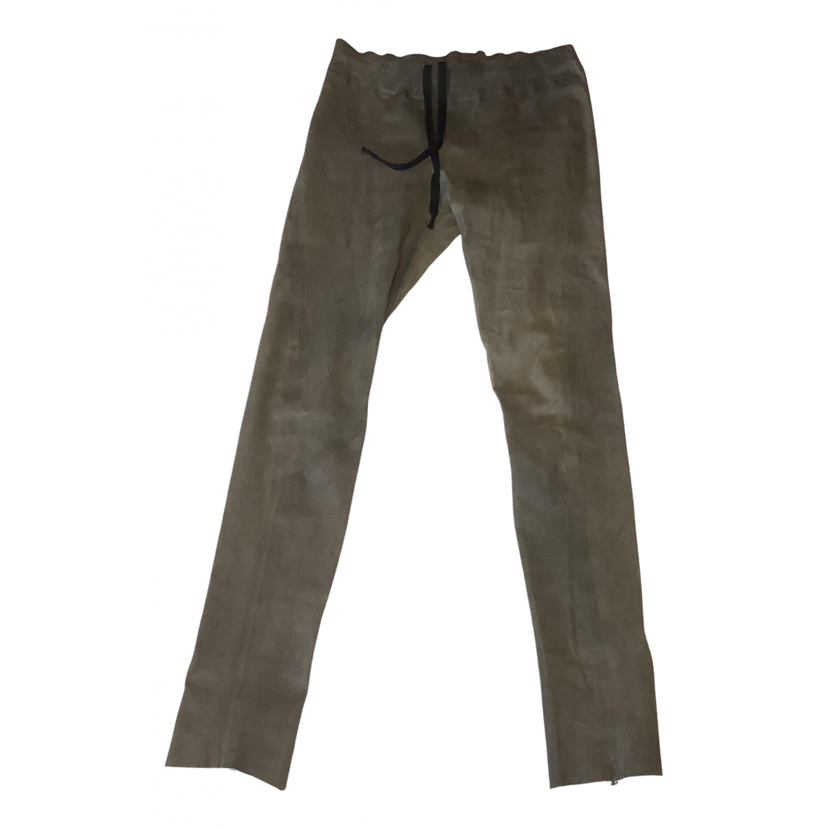 Isaac Sellam \N Brown Leather Trousers for Women 38 FR