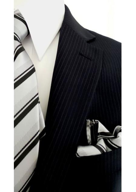 Bertolini 2 Button with Blue Pinstripe Pattern Wool&Silk Blends Suit