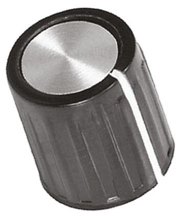 TE Connectivity Potentiometer Knob, Grub Screw Type, 11.1mm Knob Diameter, Black, 3.17mm Shaft