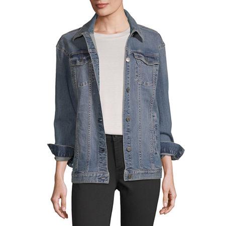a.n.a Womens Oversized Trucker Denim Jacket, Medium , Blue
