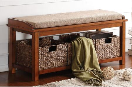 Letha Collection 96622 42 Storage Bench with 3 Sea Grass Baskets Included  Light Brown Microfiber Seat Cushion and Solid Wood Construction in Walnut