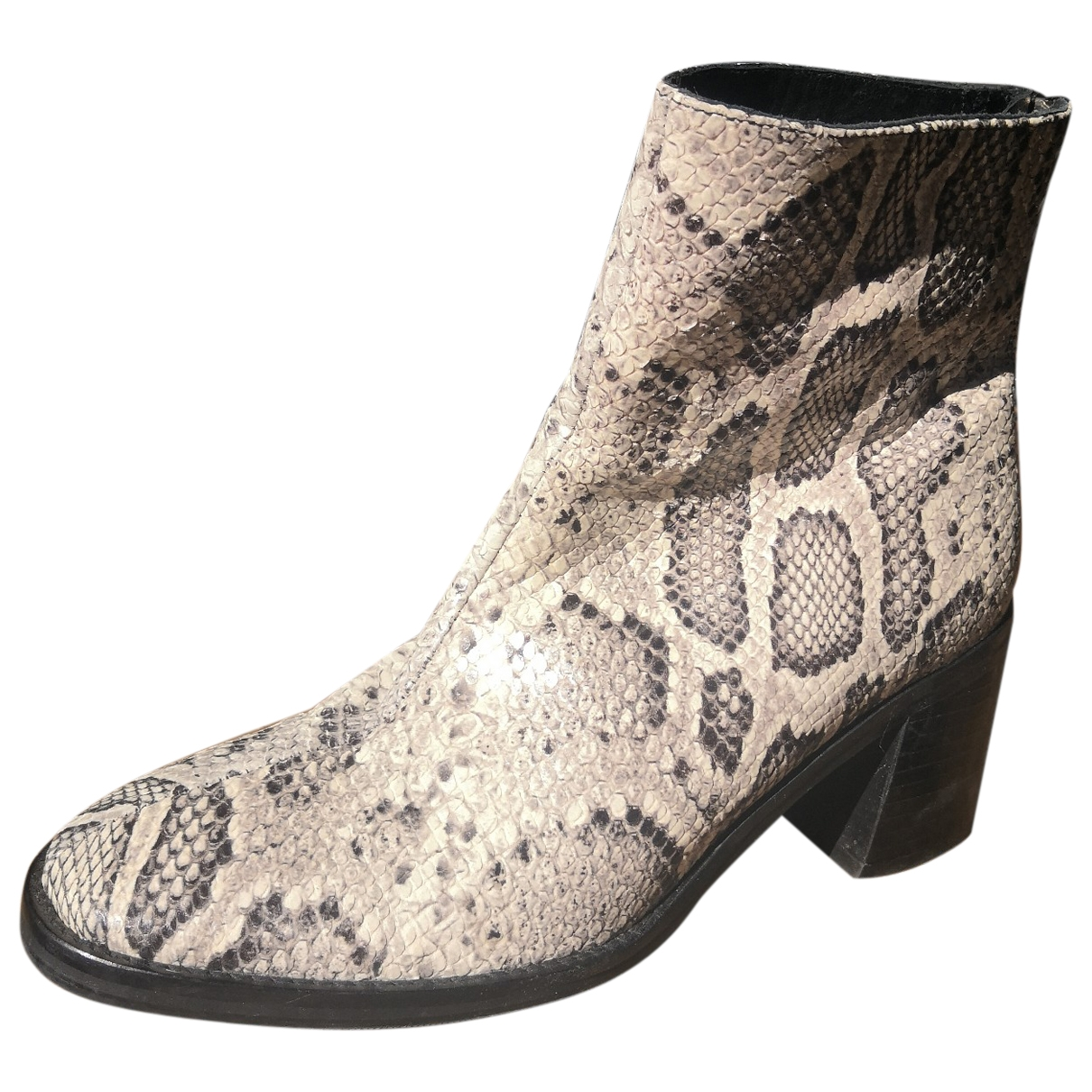 Miista \N White Leather Ankle boots for Women 39 EU