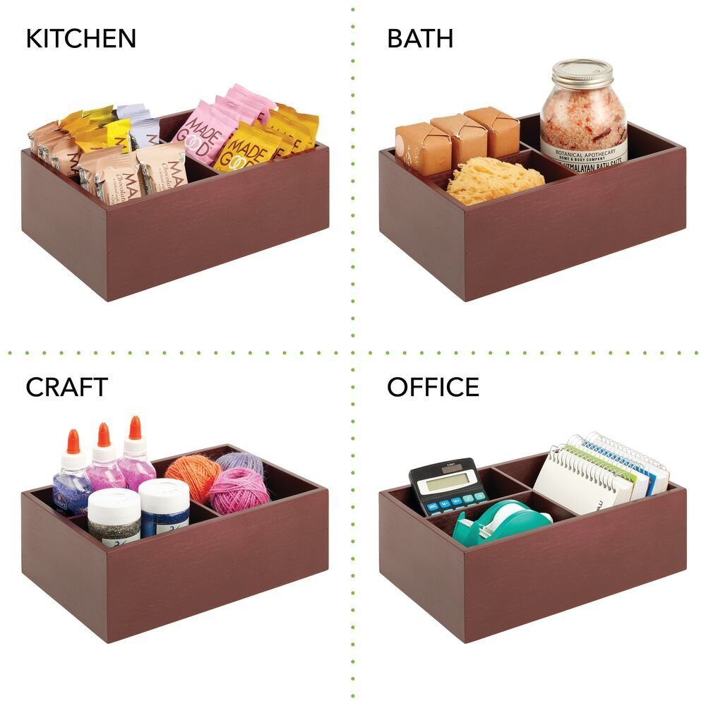 Bamboo Kitchen Storage Organizer for Food Container Lids - Pack of in Espresso Brown, by mDesign