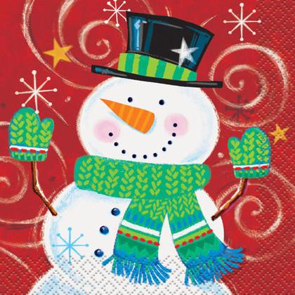 Serviettes de boissons de vacances tourbillon bonhomme de neige pour la décoration intérieure, 16ct