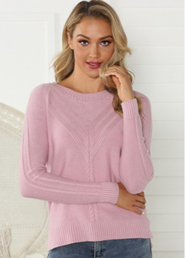 Trendy Twist Knit Round Neck Long Sleeve Sweater - XL