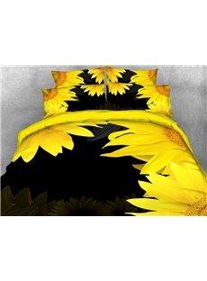 Sunflower Printed Cotton 4-Piece Black 3D Bedding Sets/Duvet Covers