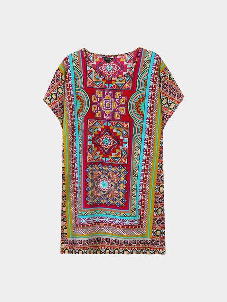 Yoins Sheer Geometrical Print Round Neck Mini Dress