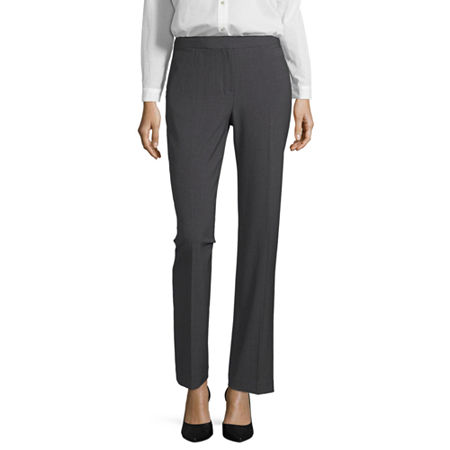 Liz Claiborne Classic Fit Audra Straight Leg Trousers, 4 Long , Gray