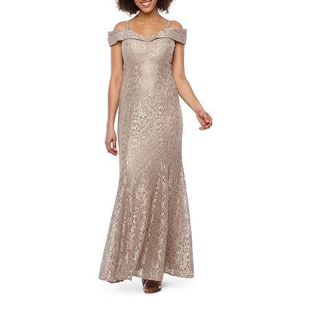 R & M Richards Short Sleeve Cold Shoulder Lace Evening Gown, 6 , Beige