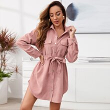 Single Breasted Flap Pocket Belted Cord Dress
