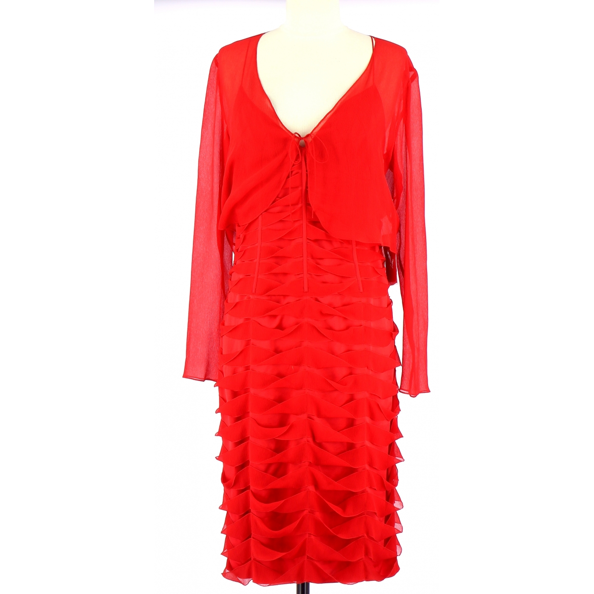 Non Signe / Unsigned \N Kleid in  Rot Seide