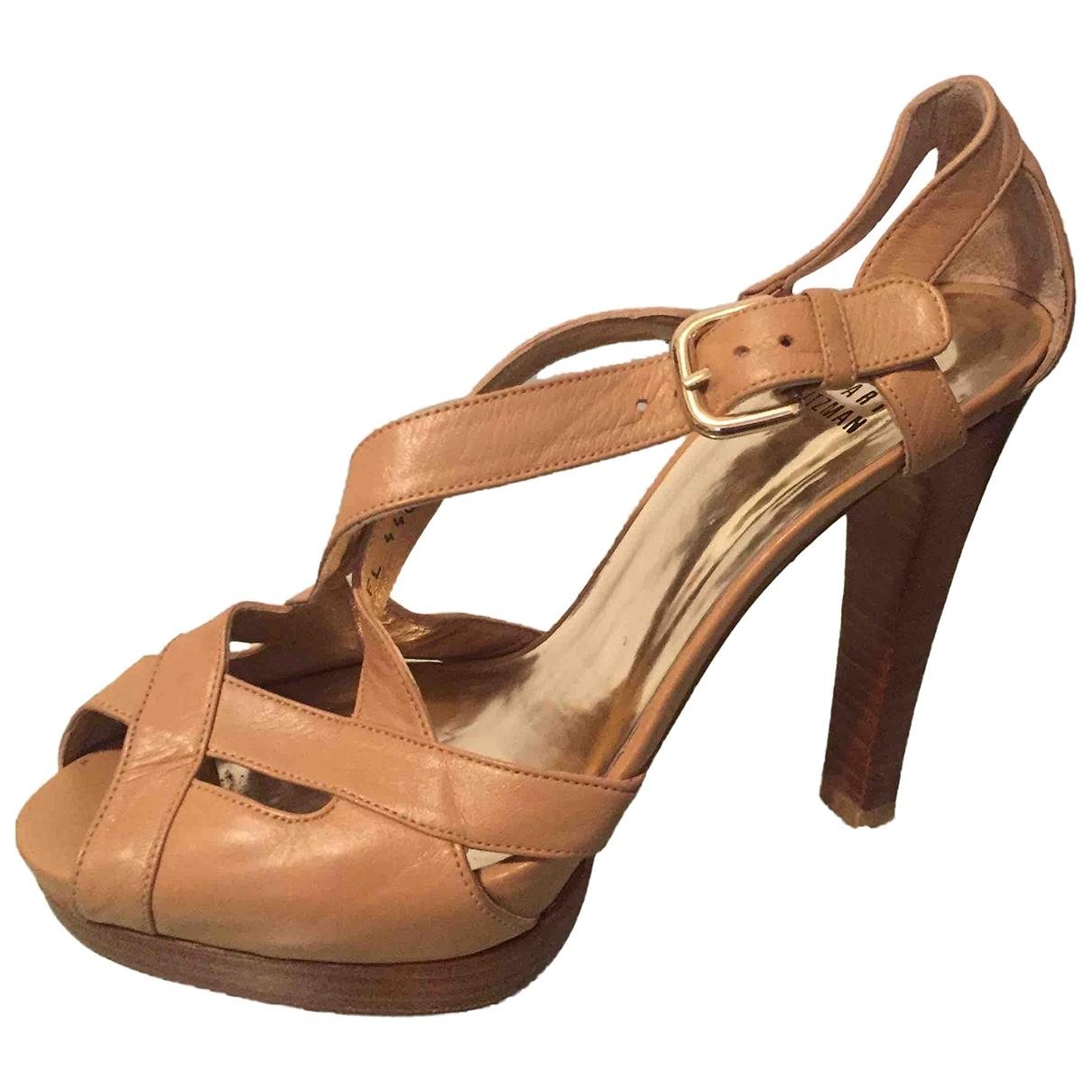 Stuart Weitzman \N Beige Leather Sandals for Women 37 EU