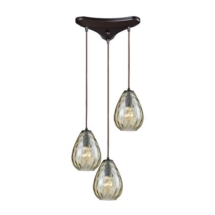 10780/3 Lagoon 3-Light Triangle Pan in Oil Rubbed Bronze with Champagne Plated Water Glass