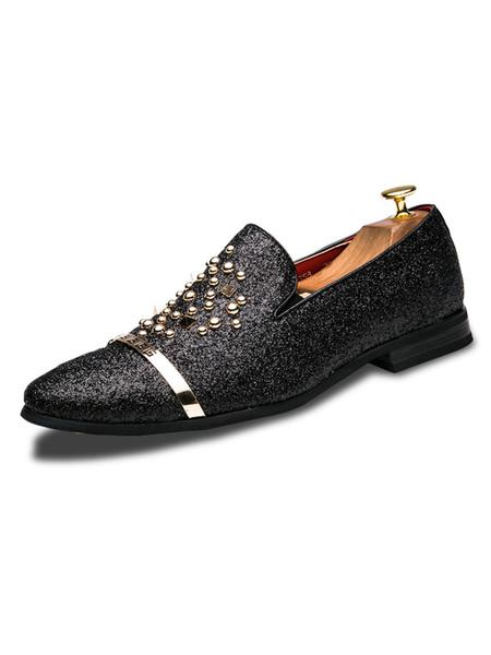 Milanoo zapatos mocasin de color plata zapatos mocasines Glitter con punta redonda zapatos deslizables con dedos remachados