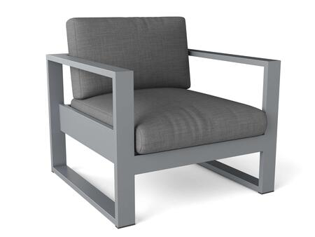 Lucca DS-1001 Armchair with Sunbrella Cushion and Aluminum Frame in Grey 170 Grit Powder