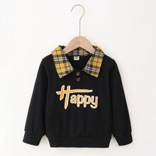 Sweatshirt mit Buchstaben Grafik und Kontrast Kragen