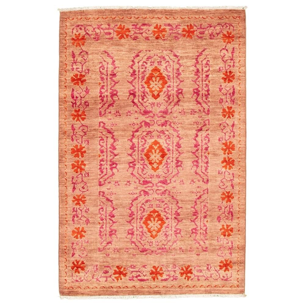 ECARPETGALLERY  Hand-knotted Pak Finest Transitional Blush Wool Rug - 41 x 63 (41 x 63 - Blush)