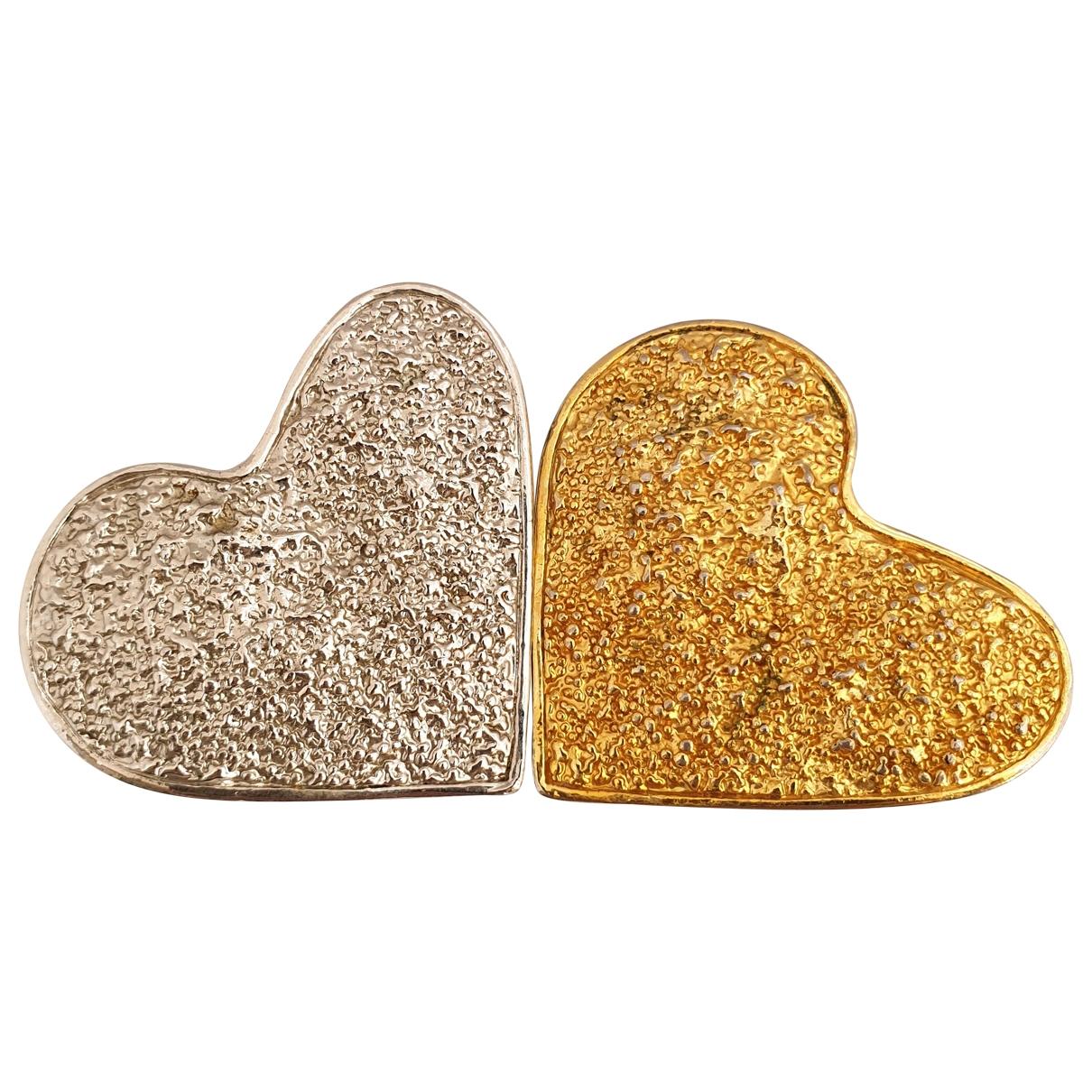 Broche Motifs Coeurs en Metal Dorado Non Signe / Unsigned