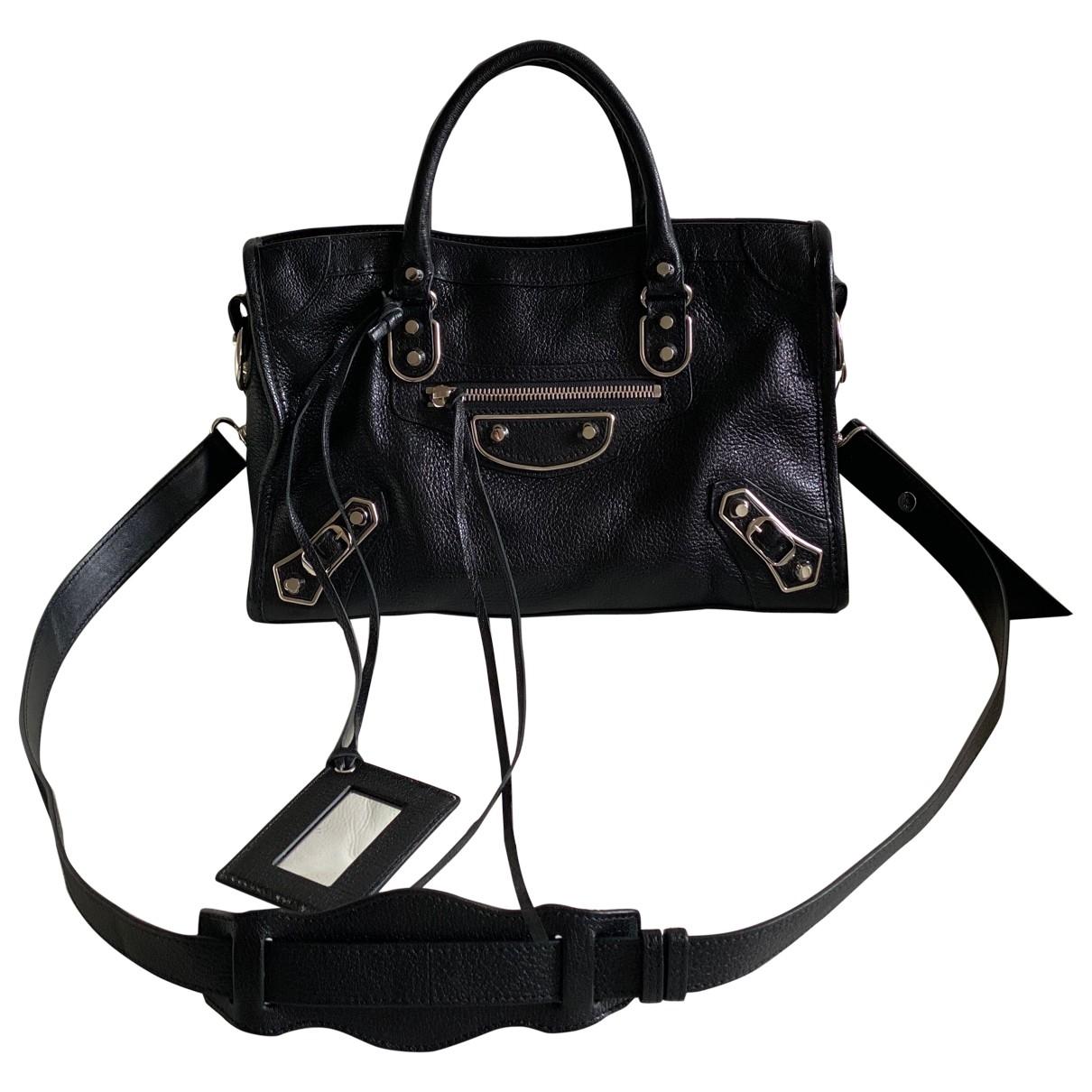 Balenciaga Classic Metalic Handtasche in  Schwarz Leder