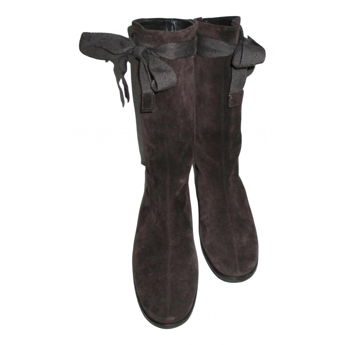 Miu Miu - Boots   pour femme en suede - marron