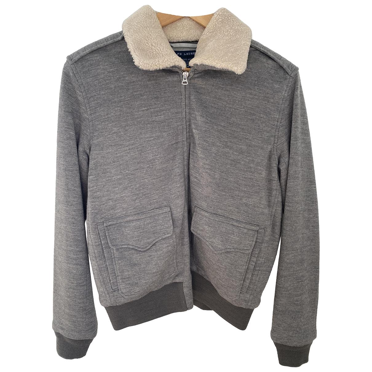 Ralph Lauren \N Lederjacke in  Grau Wolle
