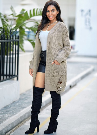 Pocket Hooded Collar Open Front Cardigan - M