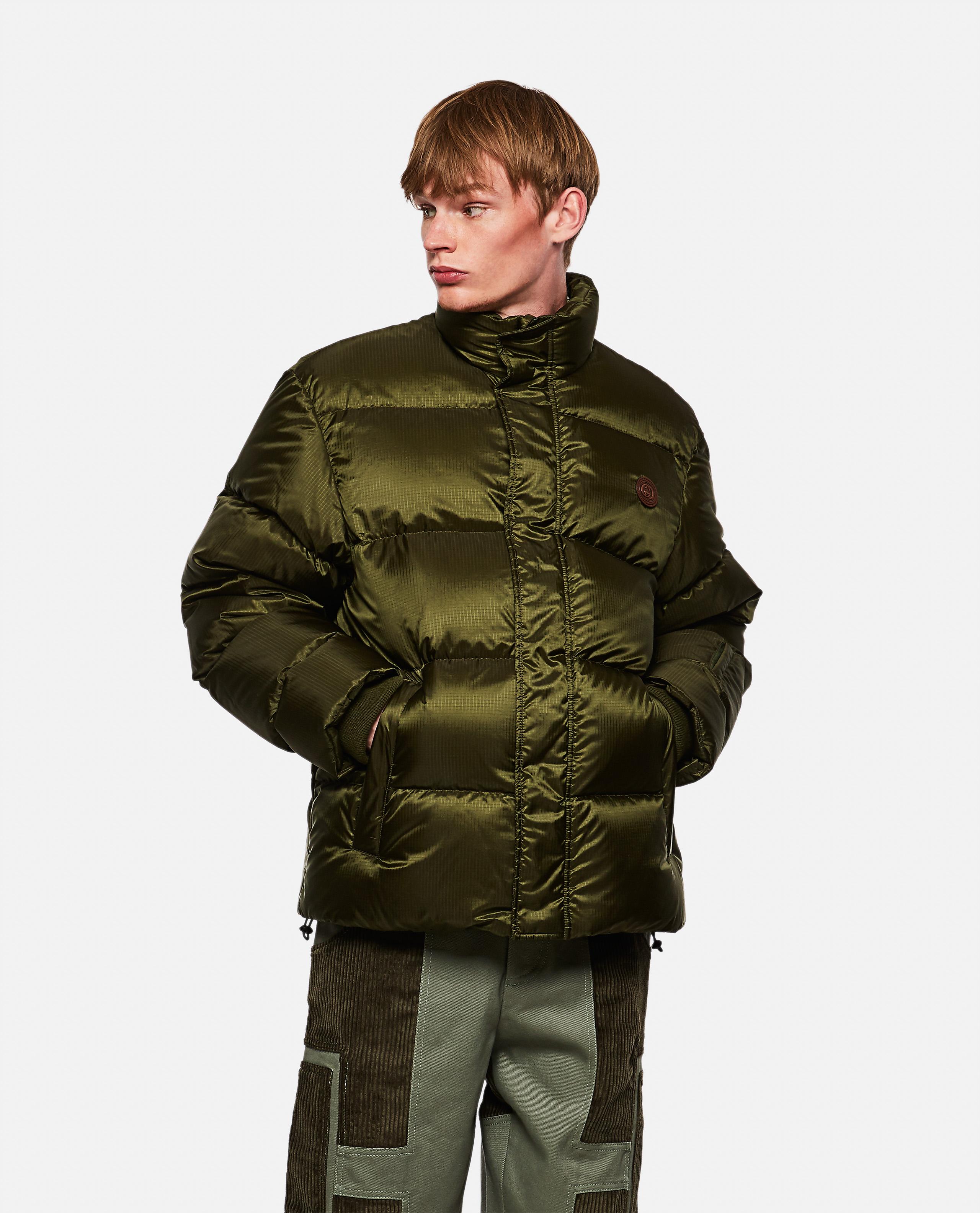 Padded nylon jacket with 'think / thank' print