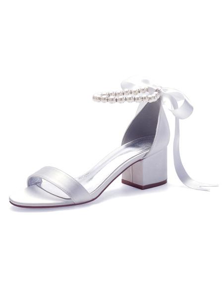 Milanoo Zapatos de novia Lazos de saten blanco Punta puntiaguda Volver Cordon de encaje Zapatos de novia