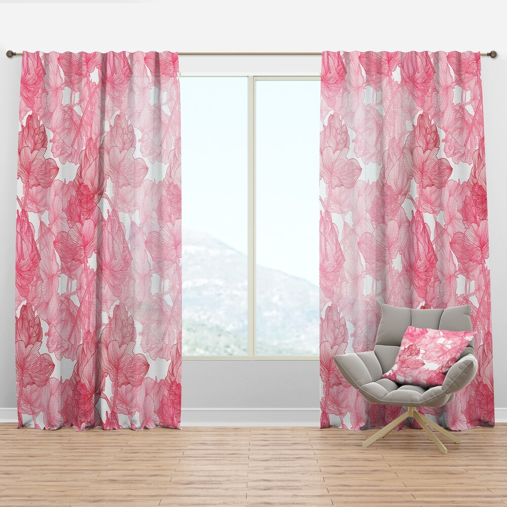Designart 'Hand Drawn Red Flowers' Floral Curtain Panel (50 in. wide x 95 in. high - 1 Panel)