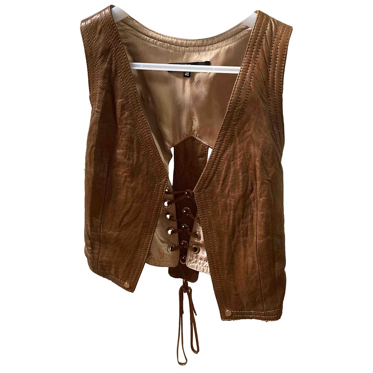 Elisabetta Franchi \N Brown Leather Knitwear for Women 42 IT