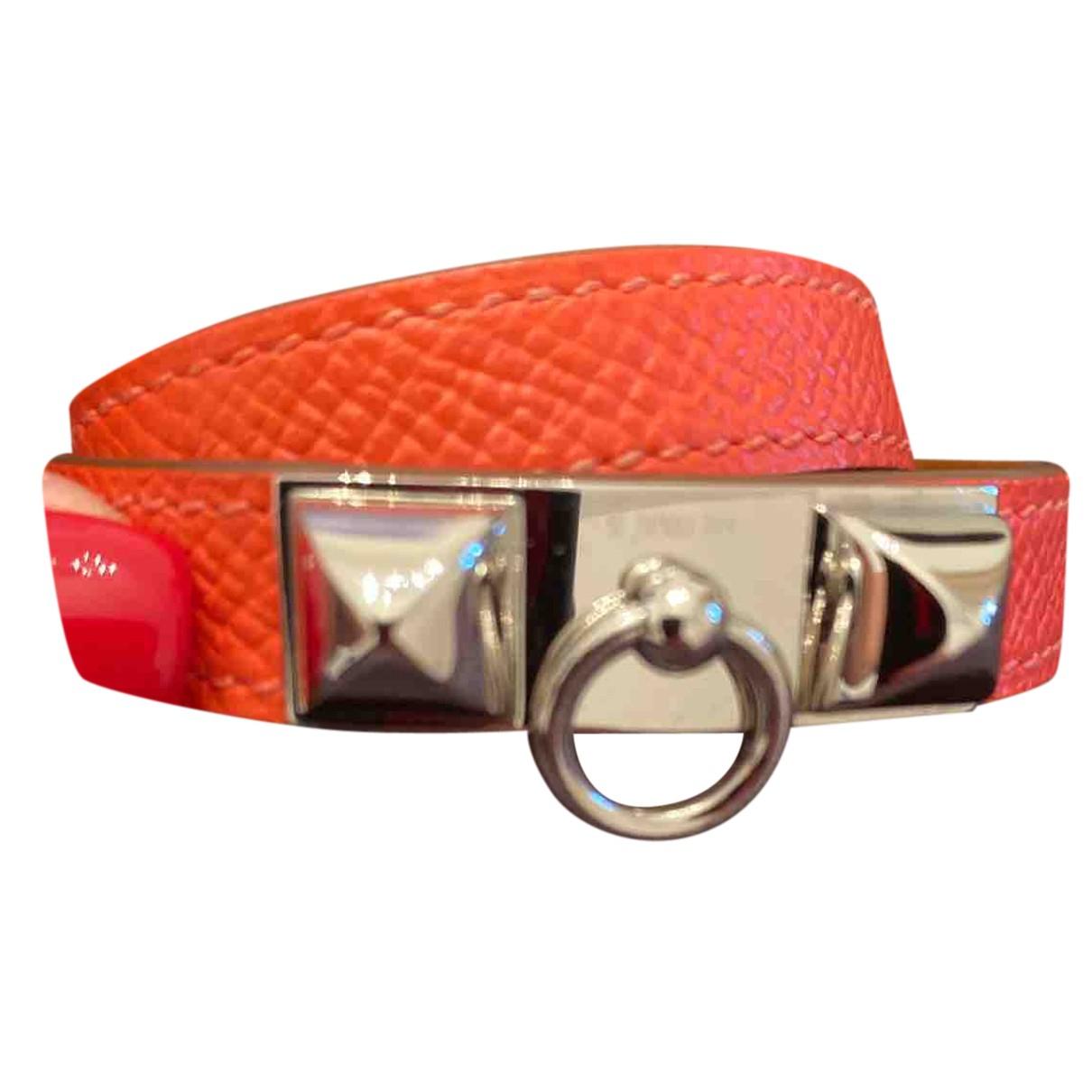 Hermes - Bracelet Rivale pour femme en cuir - rose