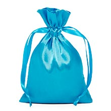 Turquoise Satin Drawstring Pouches - 5 X 8 - Silk - Quantity: 30 - Fabric Bags by Paper Mart