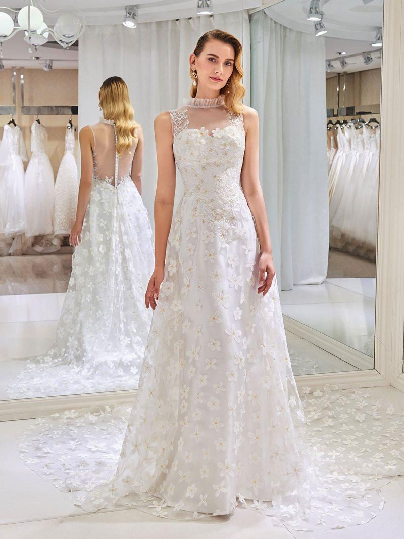 Ericdress High Neck Floral Button Wedding Dress