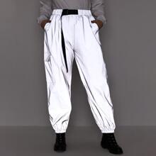 Pantalones deportivos reflexivos con bolsillo con solapa