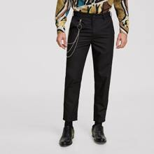 Guys Slant Pocket Tailored Pants With Chain