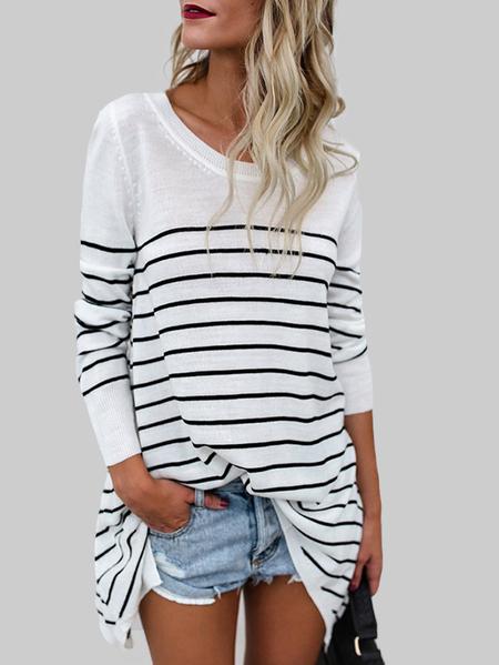 Yoins White Stripe Long Sleeves Fashion T-shirt