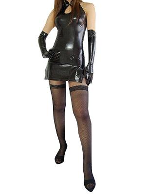 Milanoo Disfraz Halloween Sexy Negro Metalico Brillante Estilo cheongsam Vestido  Halloween