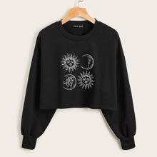 Crop Pullover mit Sonne & Mond Muster