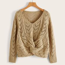 Twist Front Open Knit Sweater