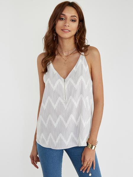 Yoins Stripe V-neck Camis with Zip Design