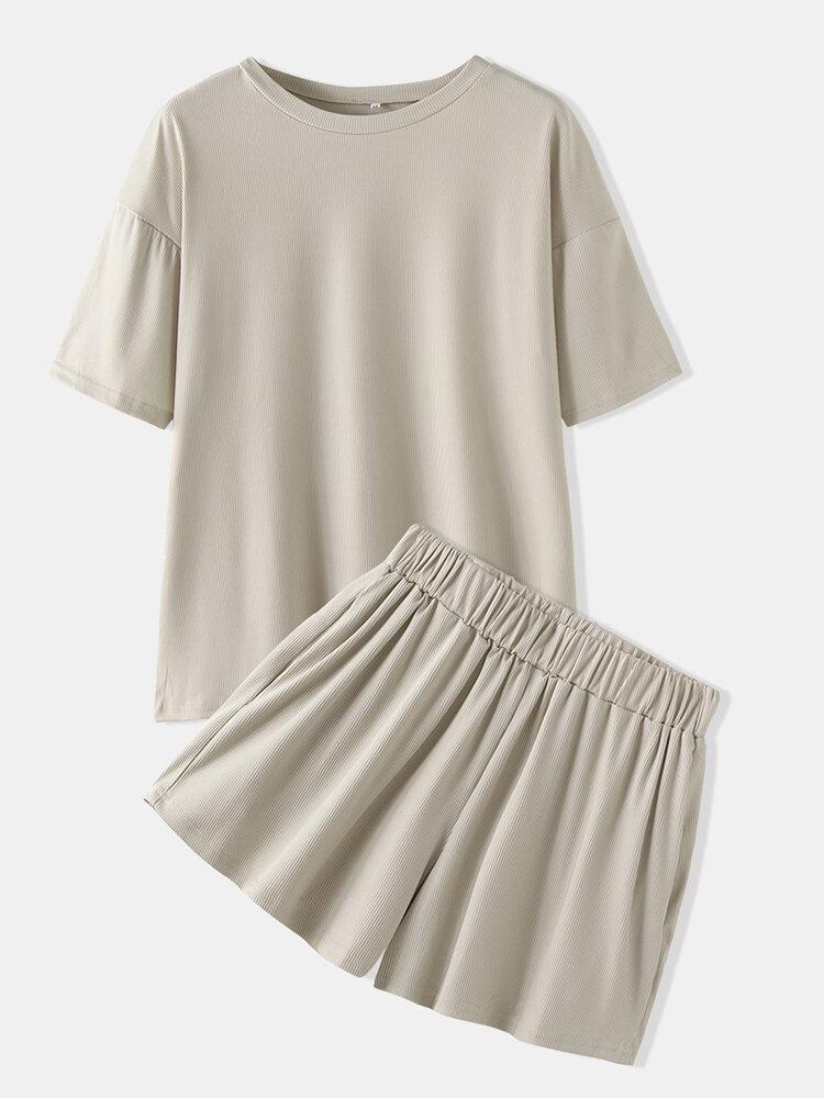 Women Plain Pajamas Set Softies O-Neck Short Sleeve Summer Breathable Casual Loungewear