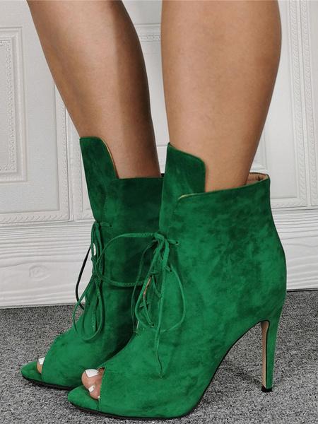 Milanoo Botines de Sude Botines de sandalia con cordones y punta abierta para mujer
