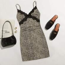 Leopard Contrast Lace Cami Dress