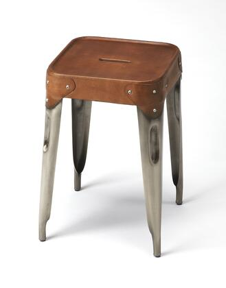 Connor Collection 3964344 Counter Stool with Modern Style  Square Shape  Iron Metal Material and Leather Uphlostery in Brown Leather