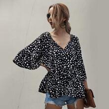 Dalmatian Print Flounce Sleeve Babydoll Blouse