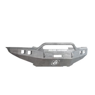 Road Armor Front Stealth Winch Bumper Pre-Runner Square Light Port in Raw Steel (Bare) - 905R4Z